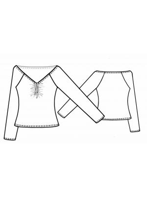 Lekala raglan top 5672 line drawing